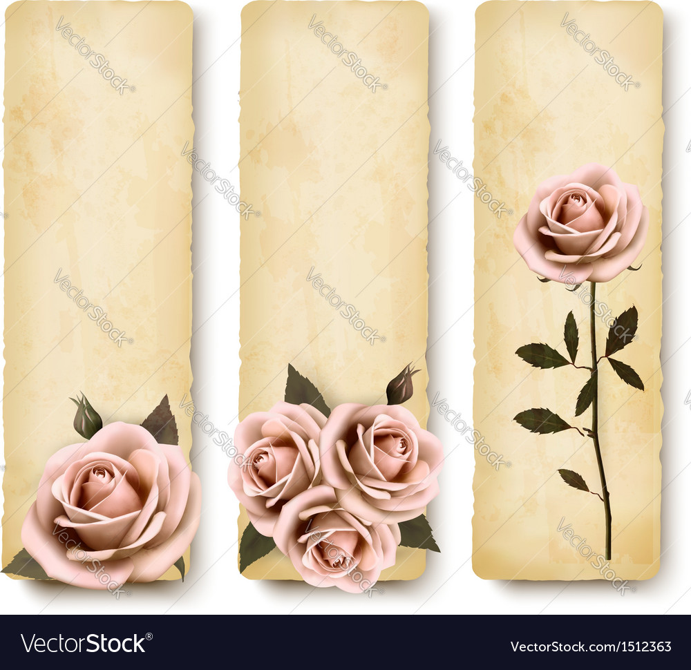 Three retro holiday banners with pink roses