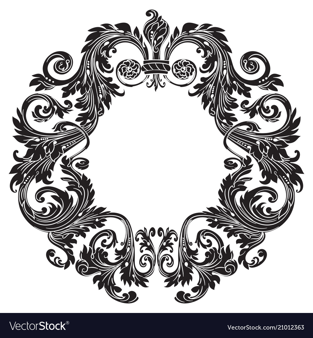 Vintage baroque ornament retro pattern antique vector