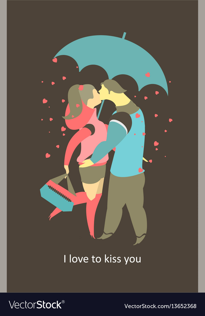 Couple in love card vector image