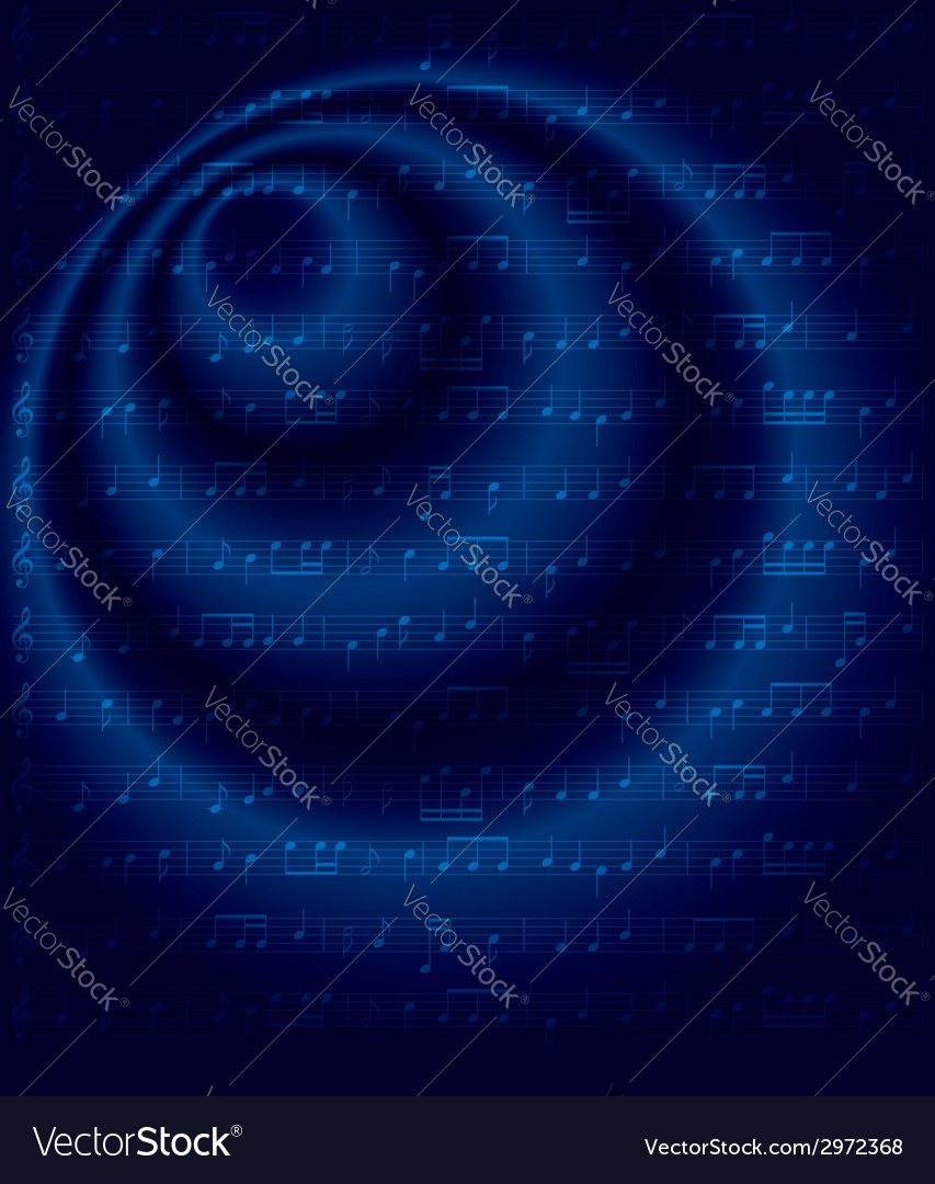Dark blue background with musical notes vector image