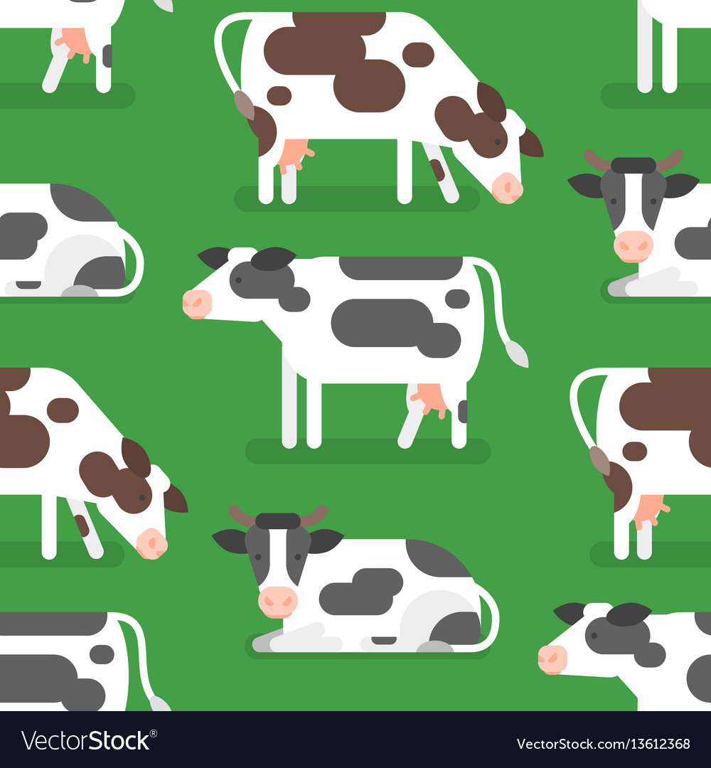 Flat style seamless pattern with cow vector image