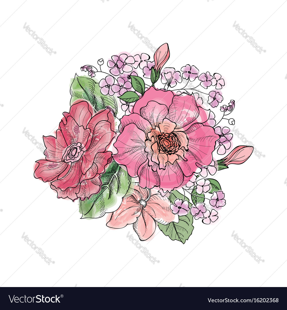 Flower bouquet floral frame flourish greeting