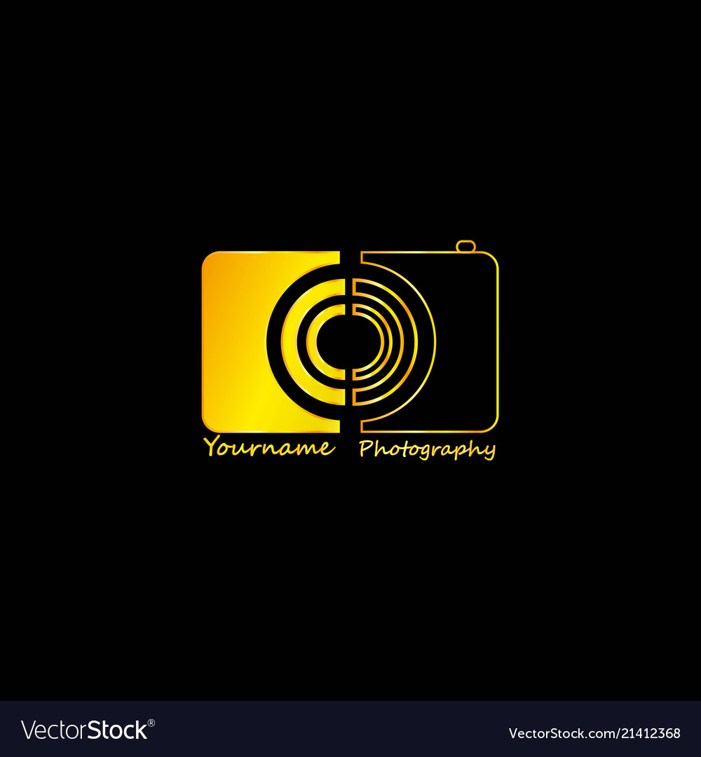 Golden Photographer Abstract Black Background Vector Image