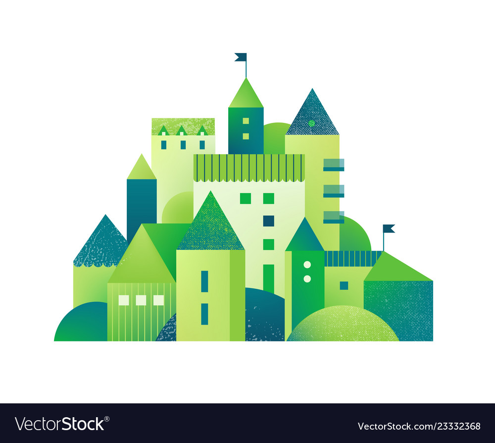 Green city with buildings and towers and trees