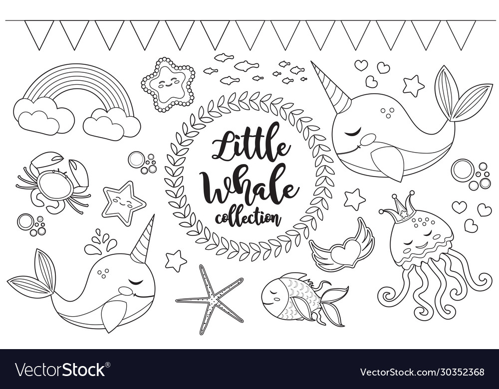 Little whale unicorn set coloring book page