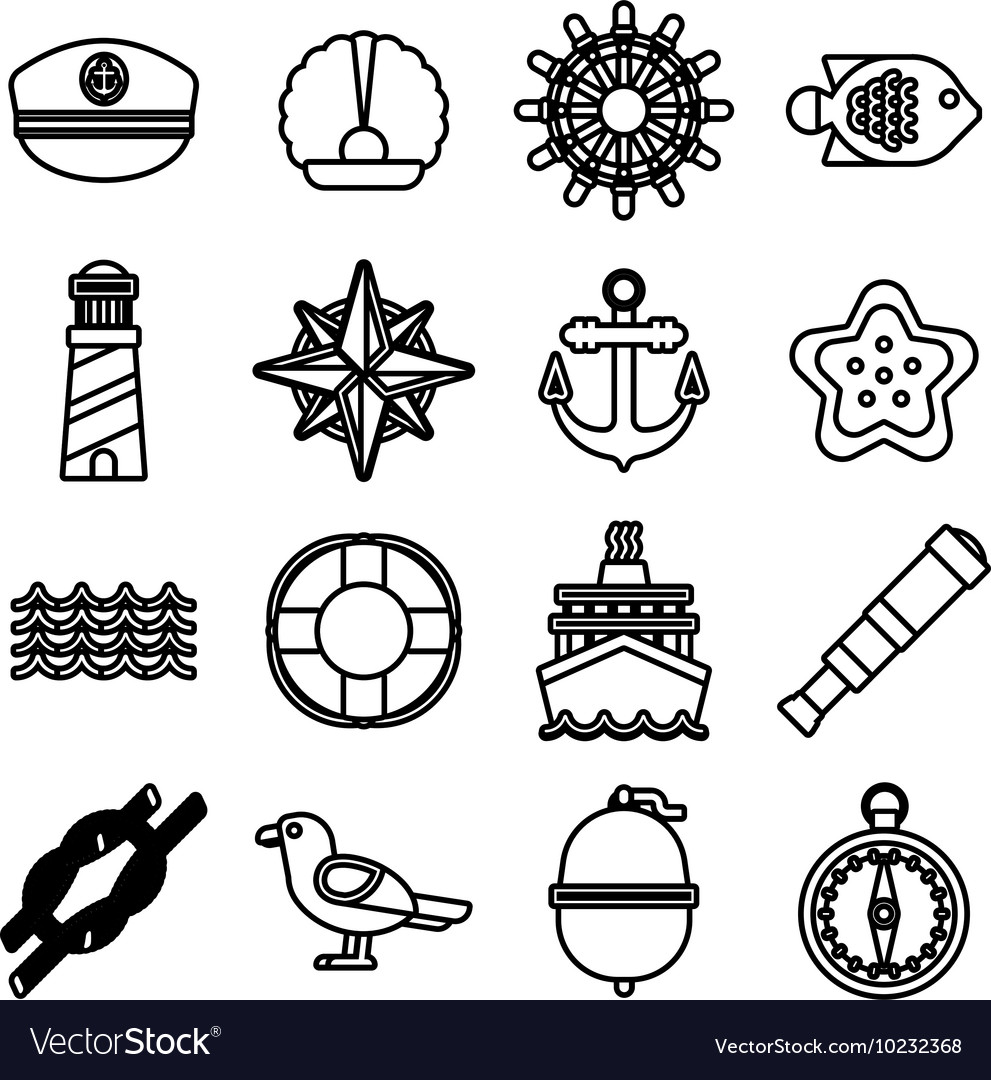 Marine sea icons set