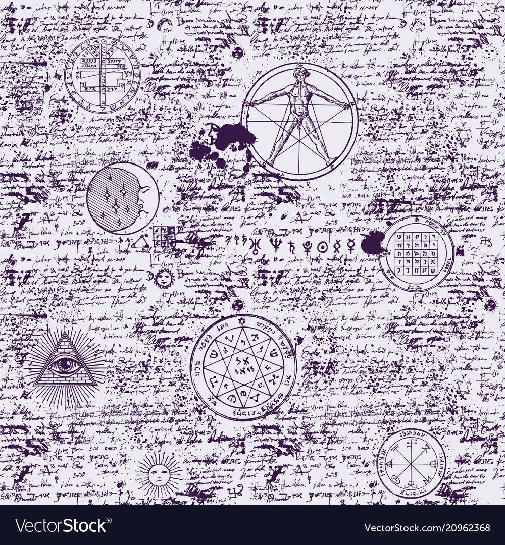 Mystical esoteric occult seamless background