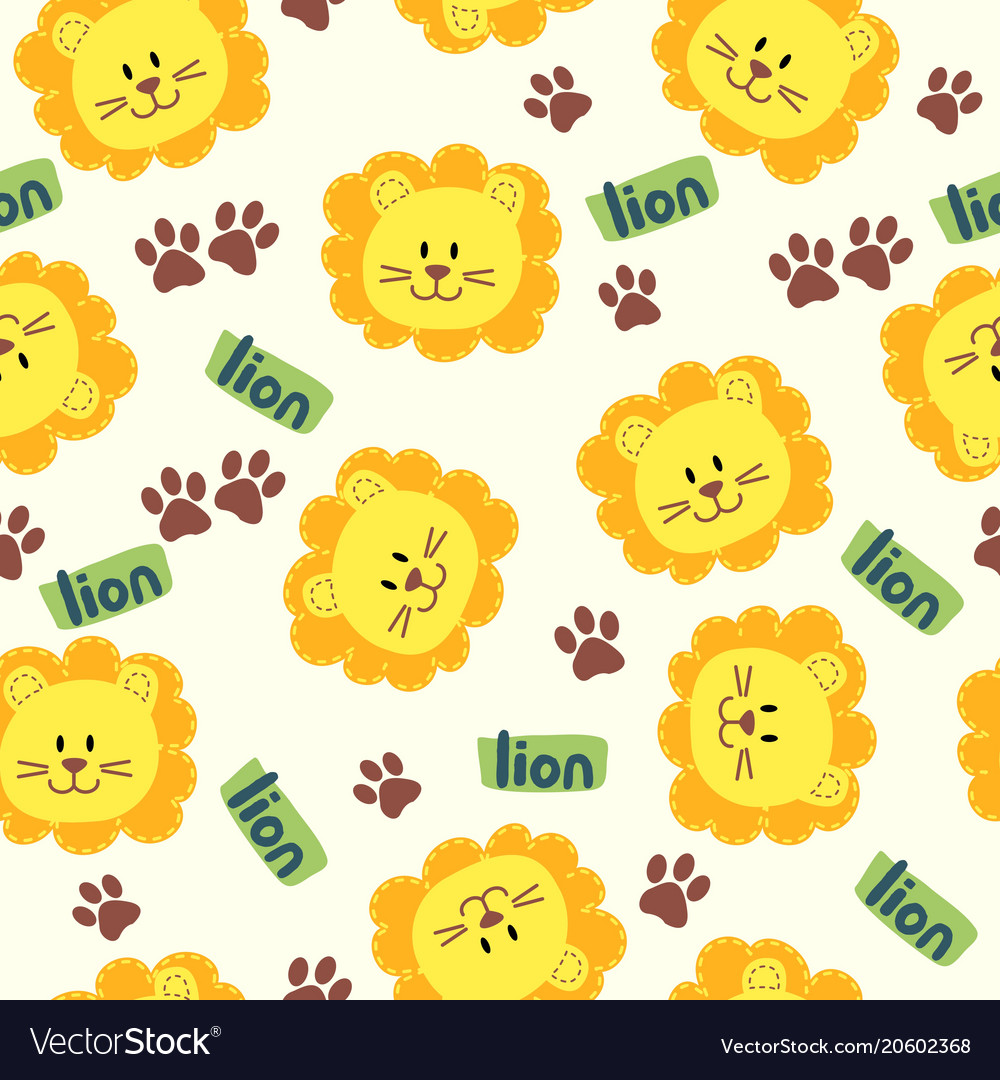 Seamless cartoon texture with lion and steps vector image
