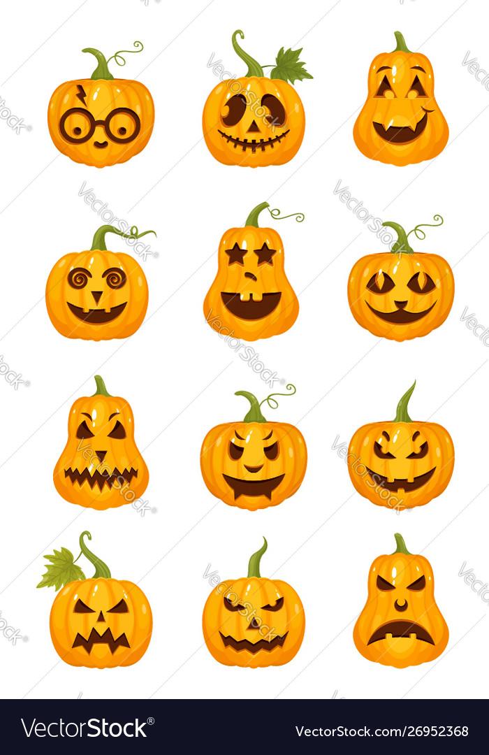 Set halloween pumpkins