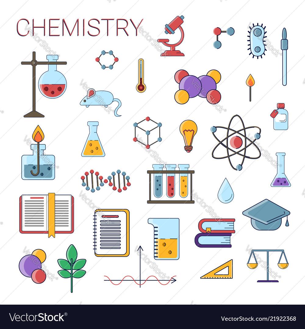 Set of scientific chemistry flat icons