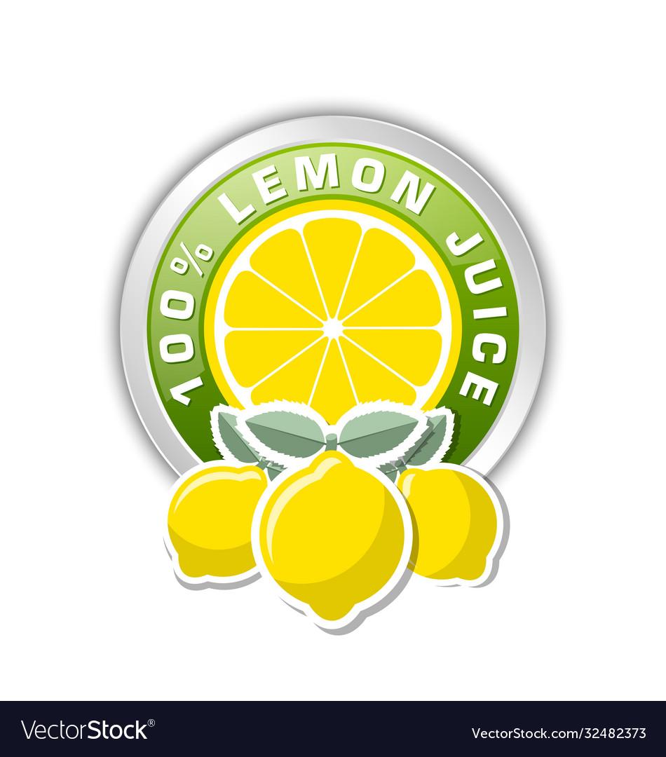 100 lemon juice badge with three lemons placed on