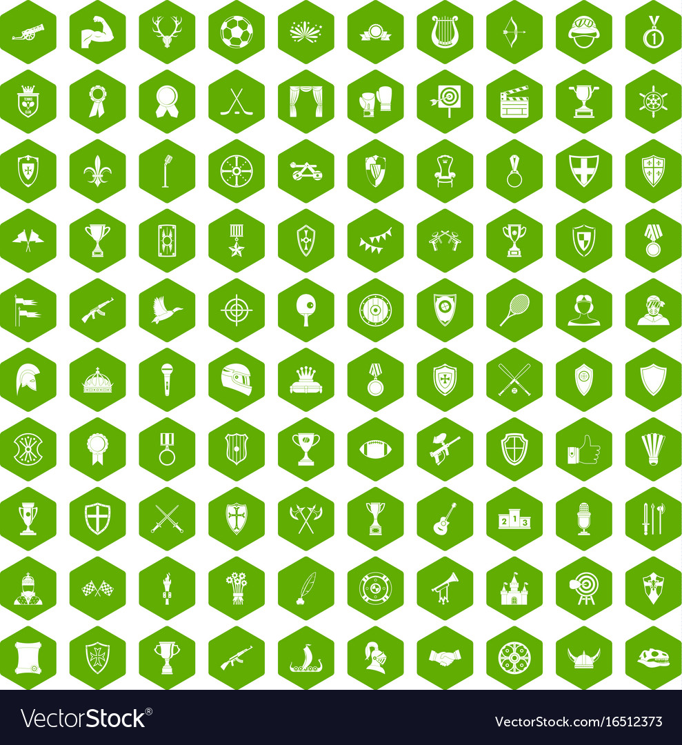 100 trophy and awards icons hexagon green vector image