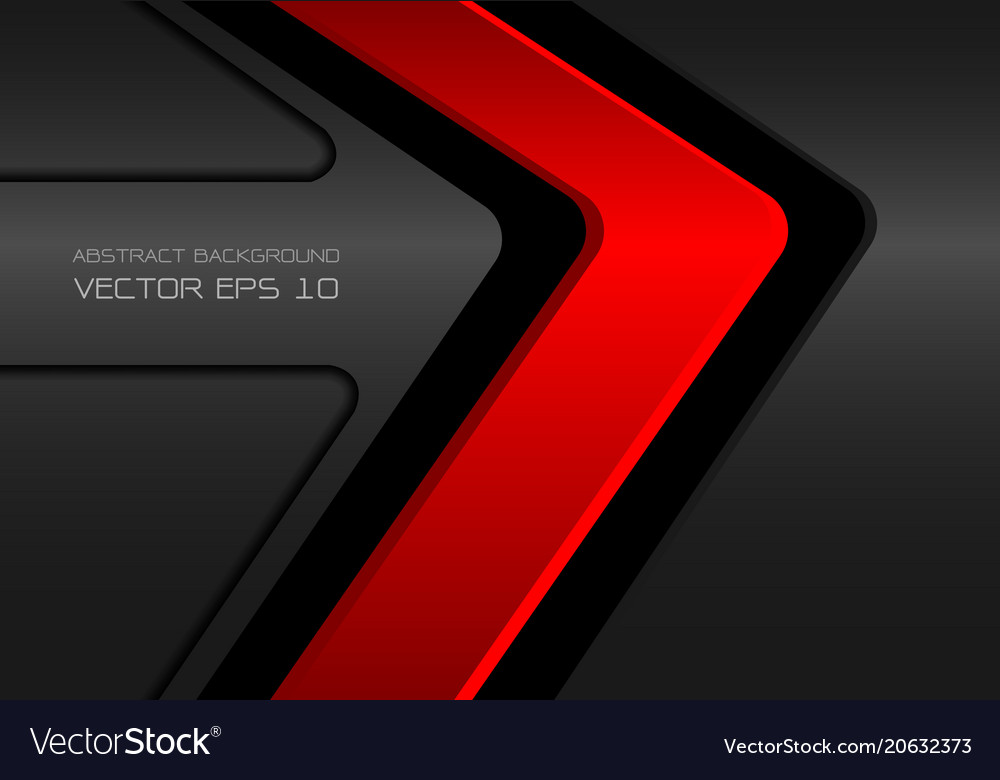Abstract red on dark gray metal arrow