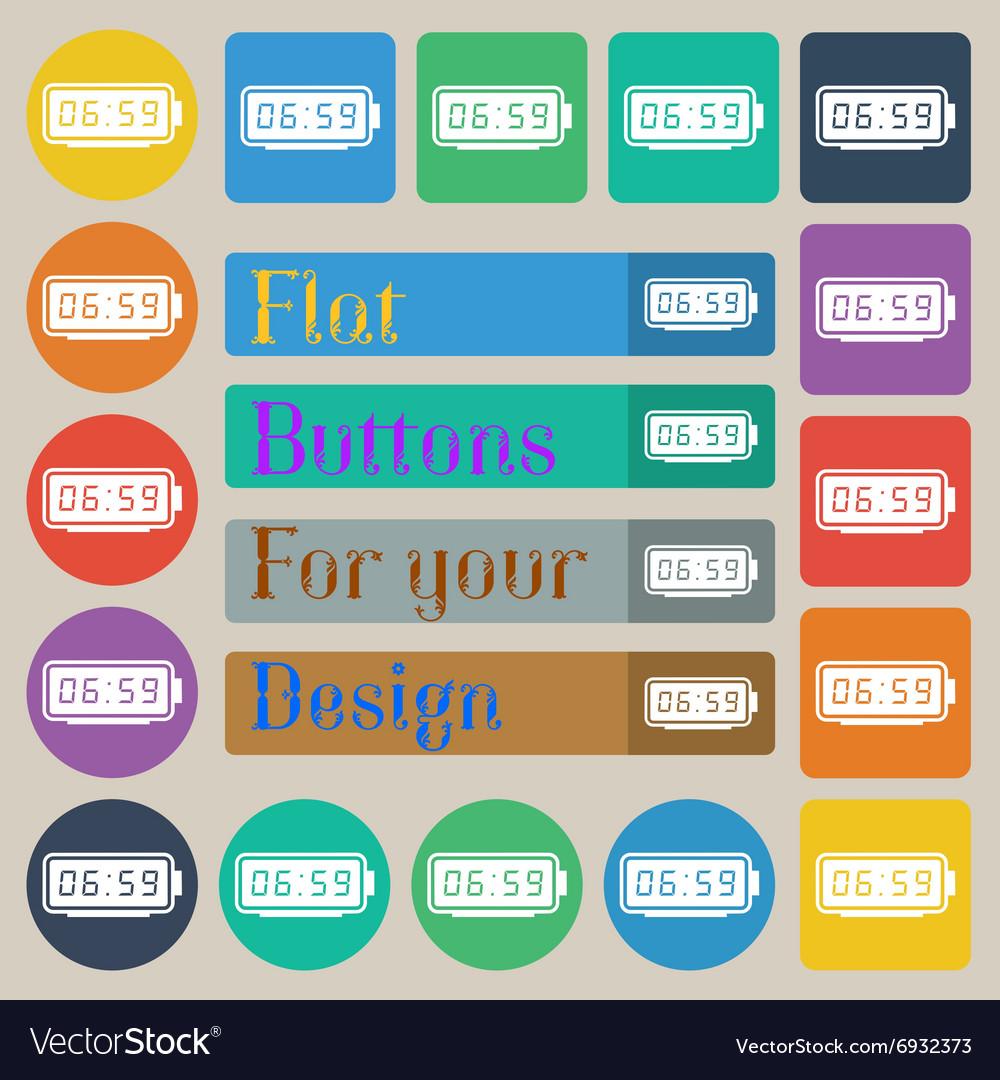 Alarm clock icon sign Set of twenty colored flat