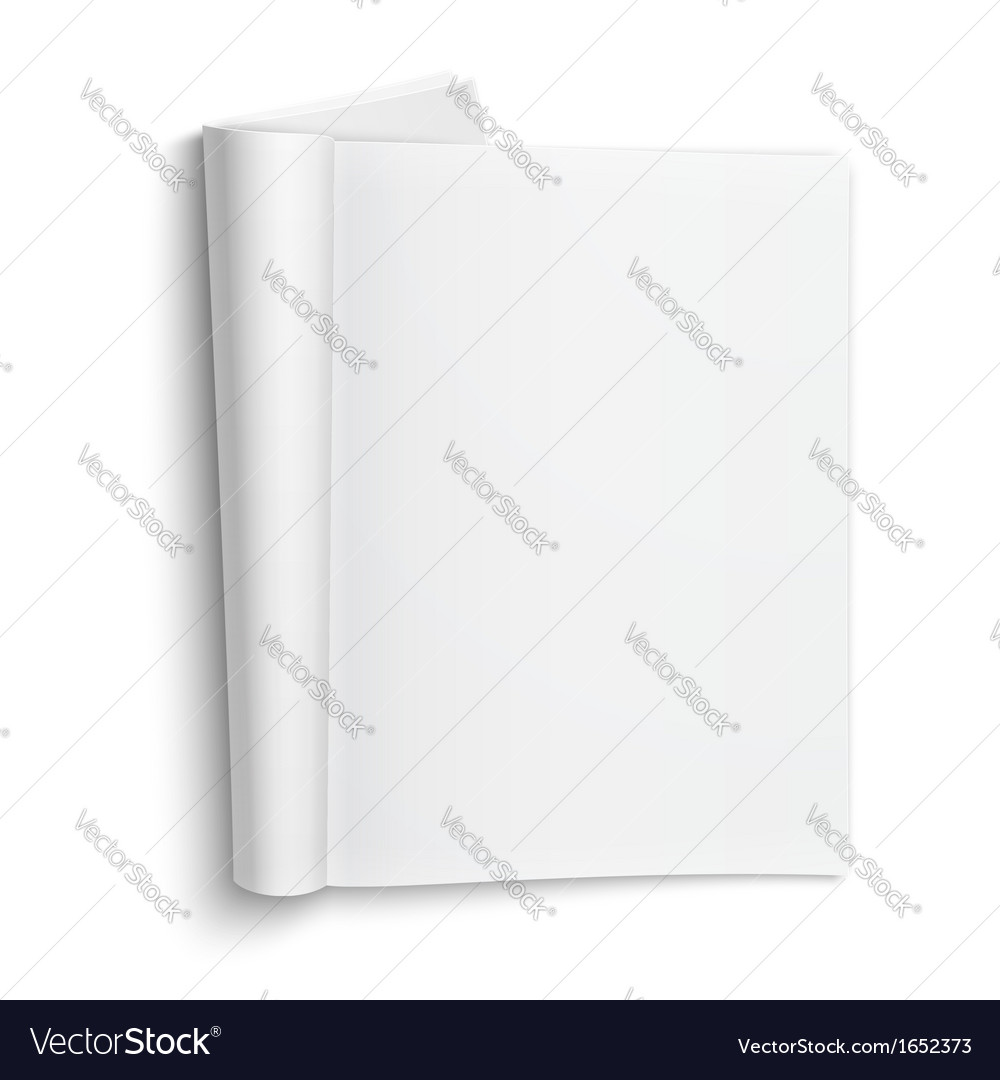 Blank open magazine template with soft shadows vector image