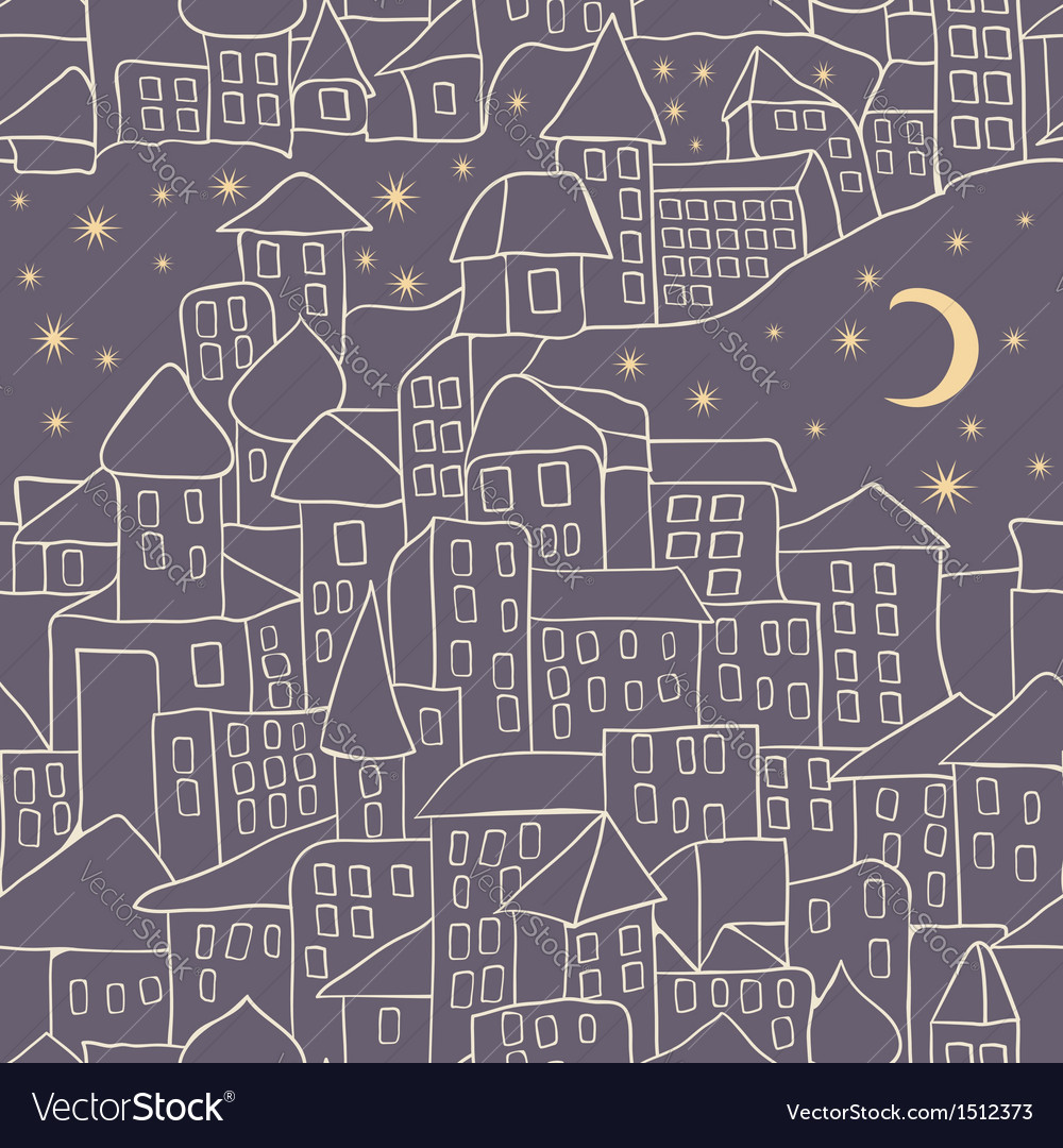 Cartoon city nightlife seamless pattern