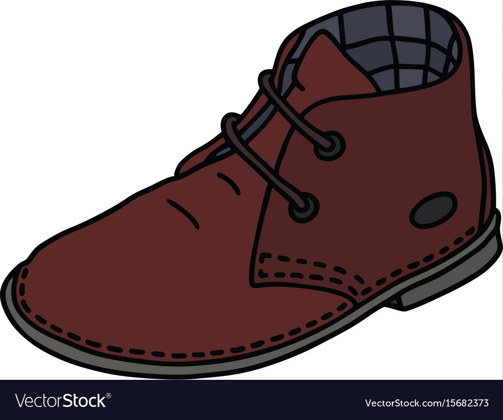 Dark red suede shoe vector image