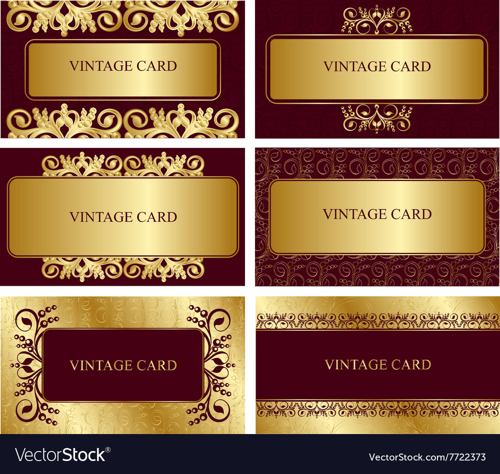 Gold business cards Royalty Free Vector Image - VectorStock