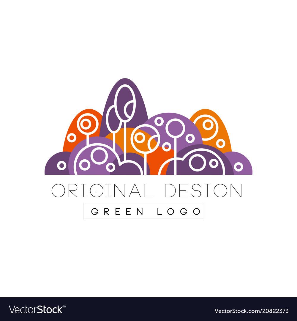 Green logo original design forest eco park or vector image