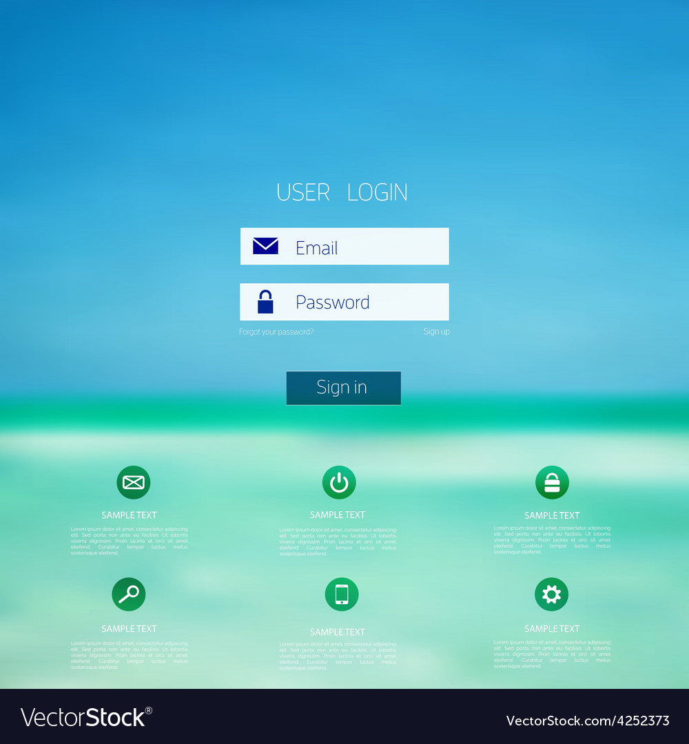 Login form page with blurred background Web site
