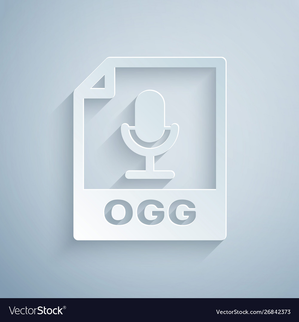 Paper cut ogg file document download ogg button