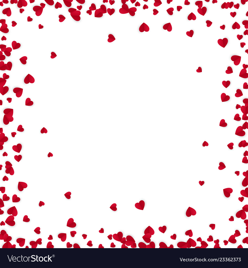 Red hearts frame with place for text isolated on