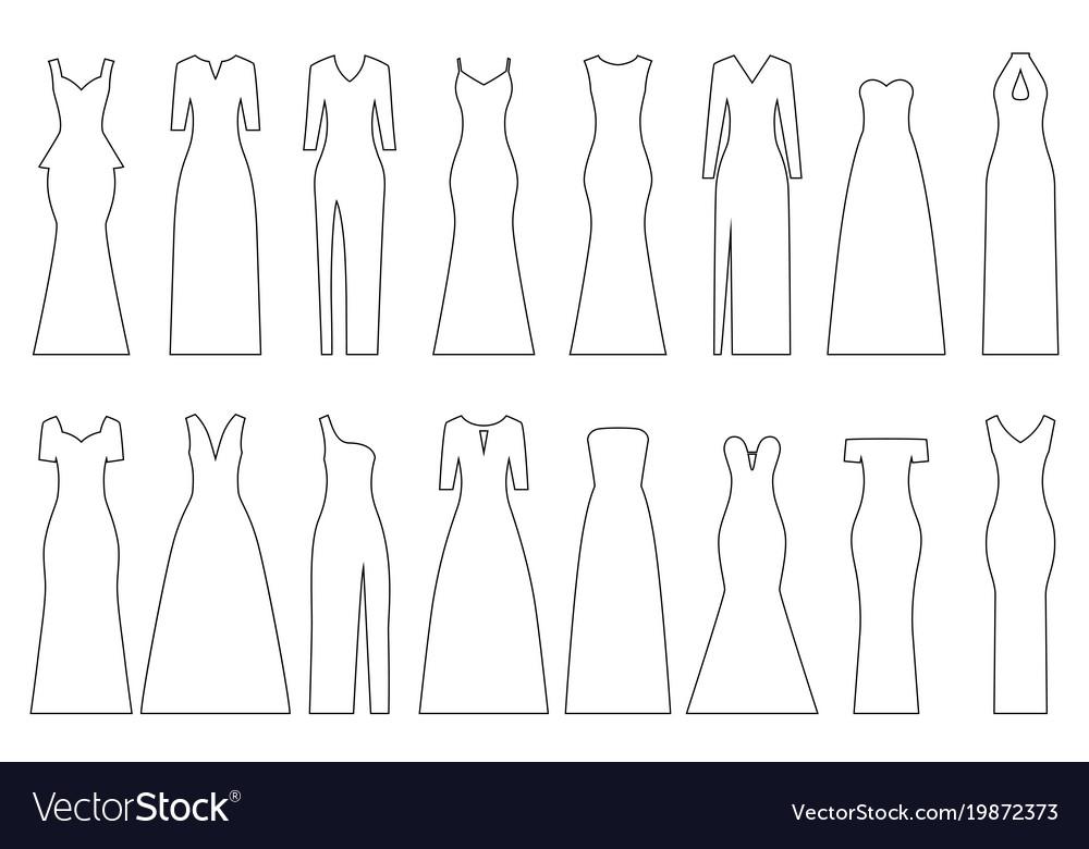 Set of contours of evening dresses
