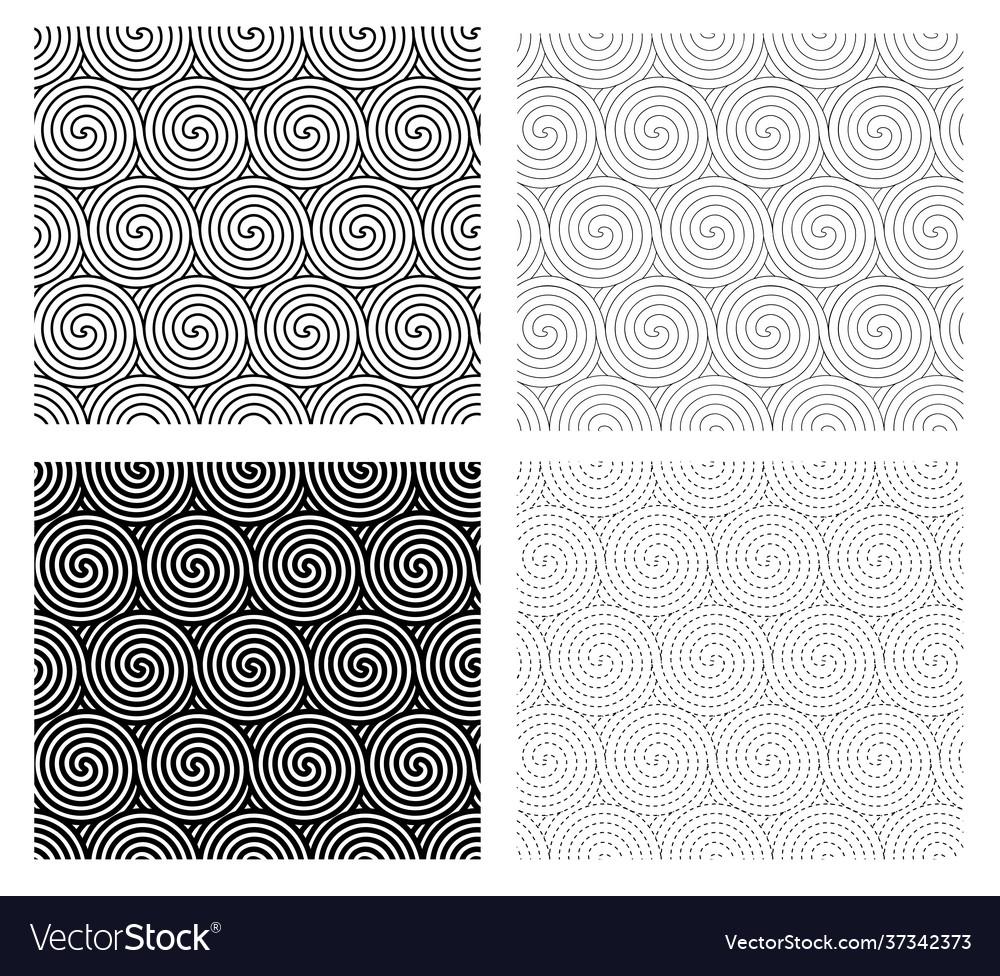 Set seamless spiral line pattern art