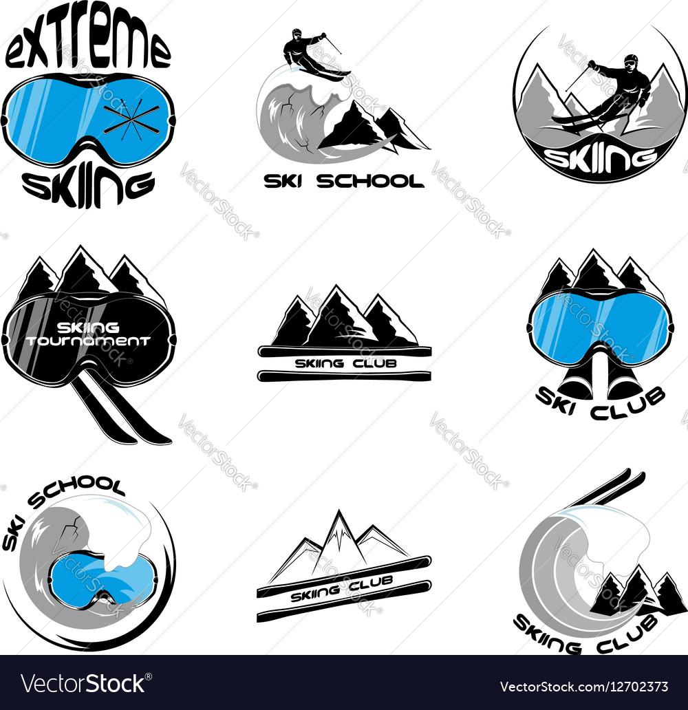 Set Ski logo design template elements