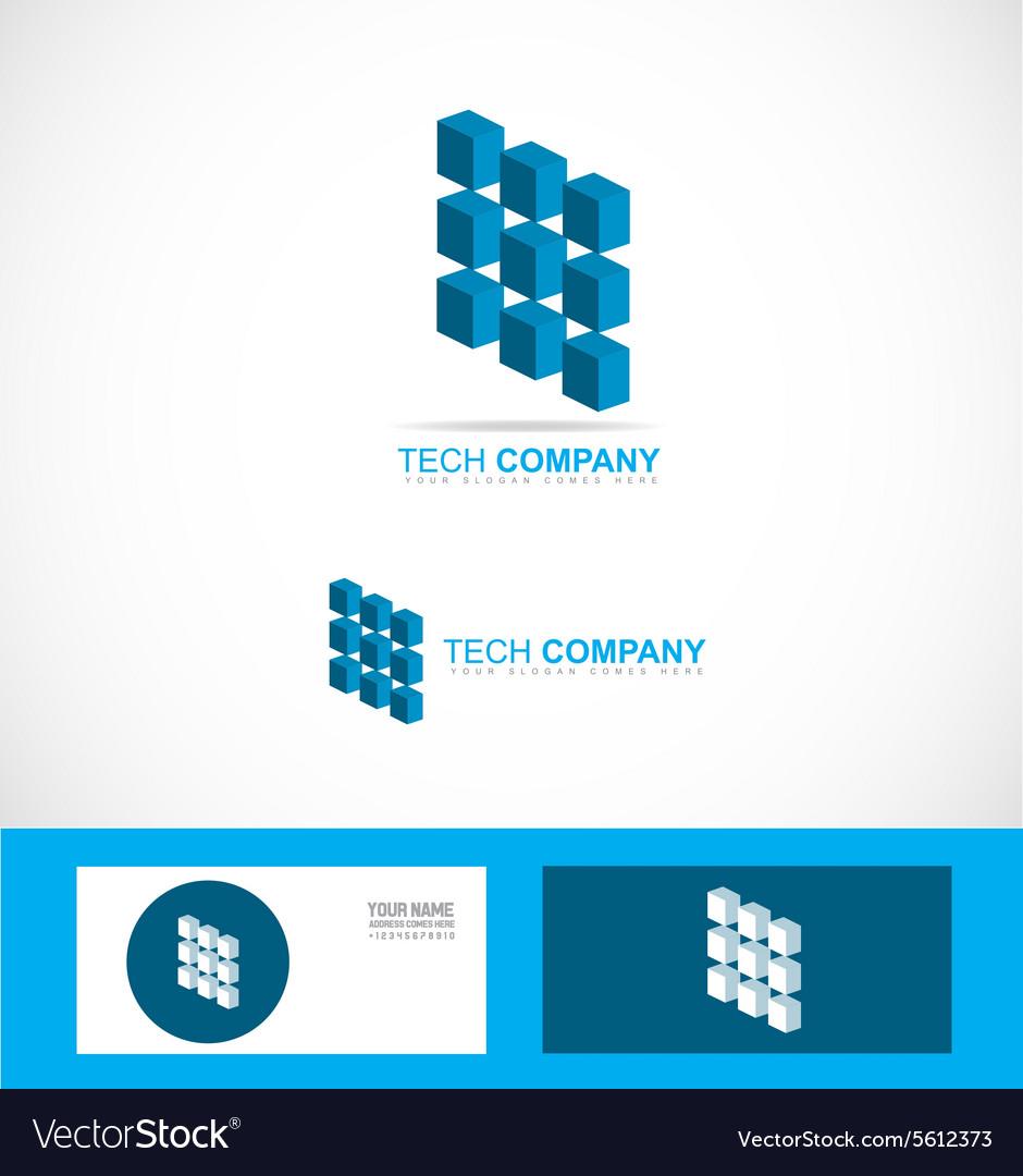 Tech Technology Company Logo Symbol Chip Vector Image