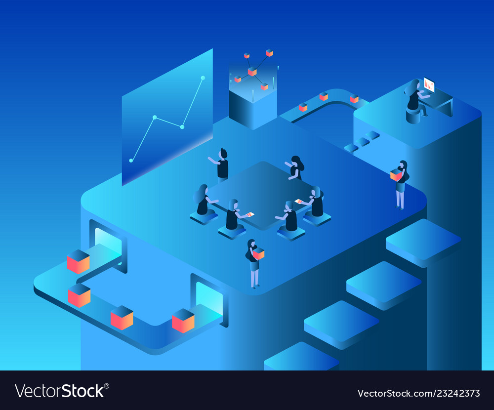 Work team isometric flat design