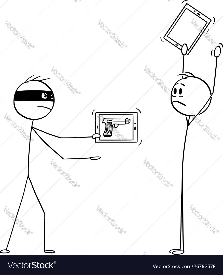 Cartoon robber with virtual gun as image on
