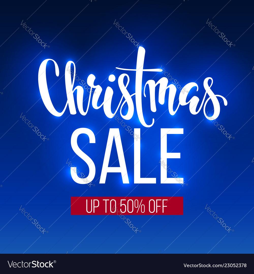 Christmas sale inscription on blue background