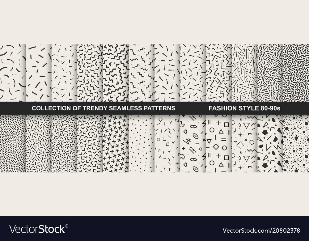 Collection of memphis seamless patterns fashion