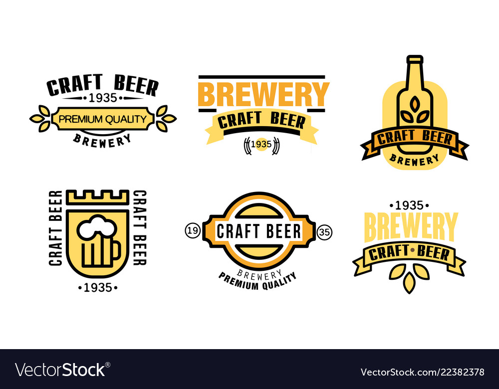 Craft beer premium quality logo set vintage