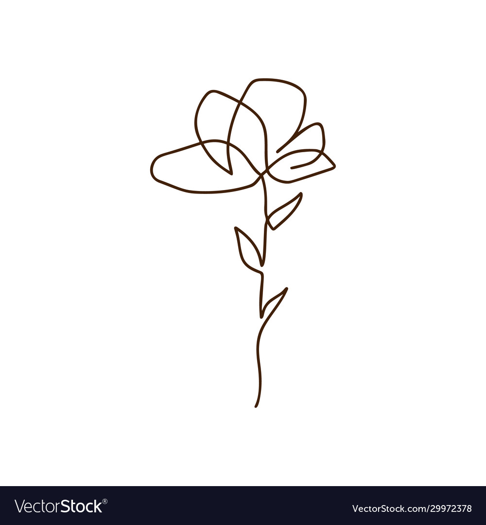Flower one line art logo minimalist