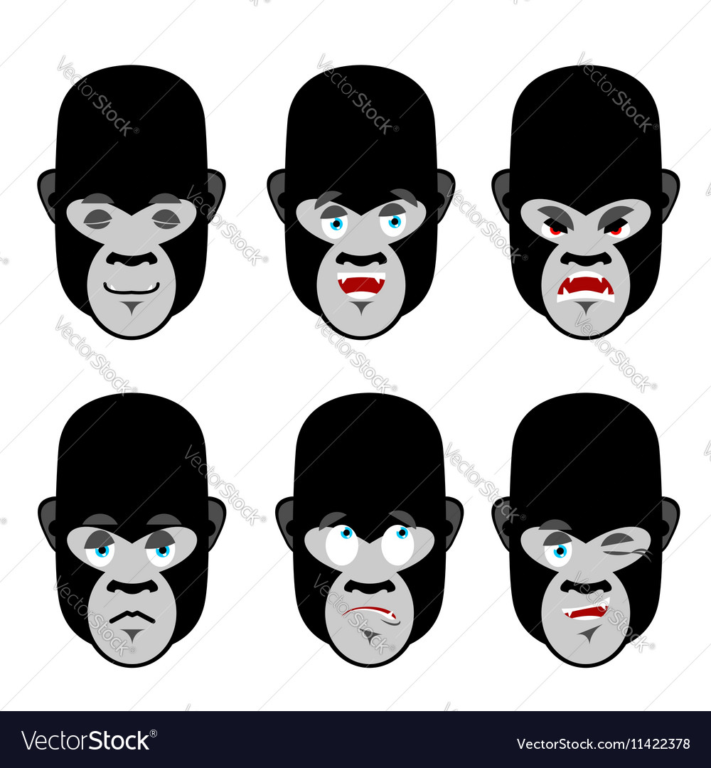Gorilla emotions Set expressions avatar monkey