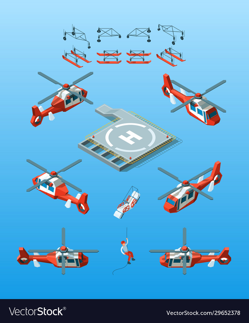 Helipads helicopter isometric civil