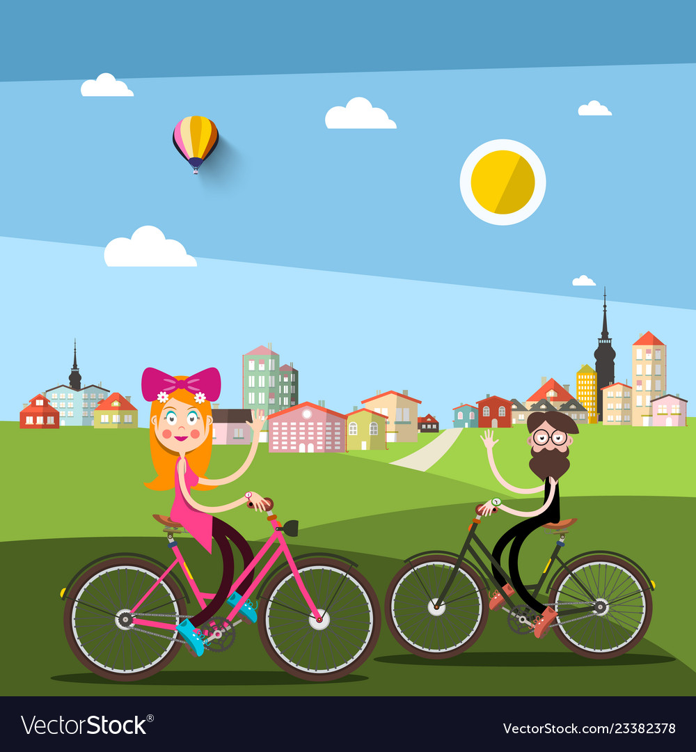 Man and woman on bicycle with city ark on