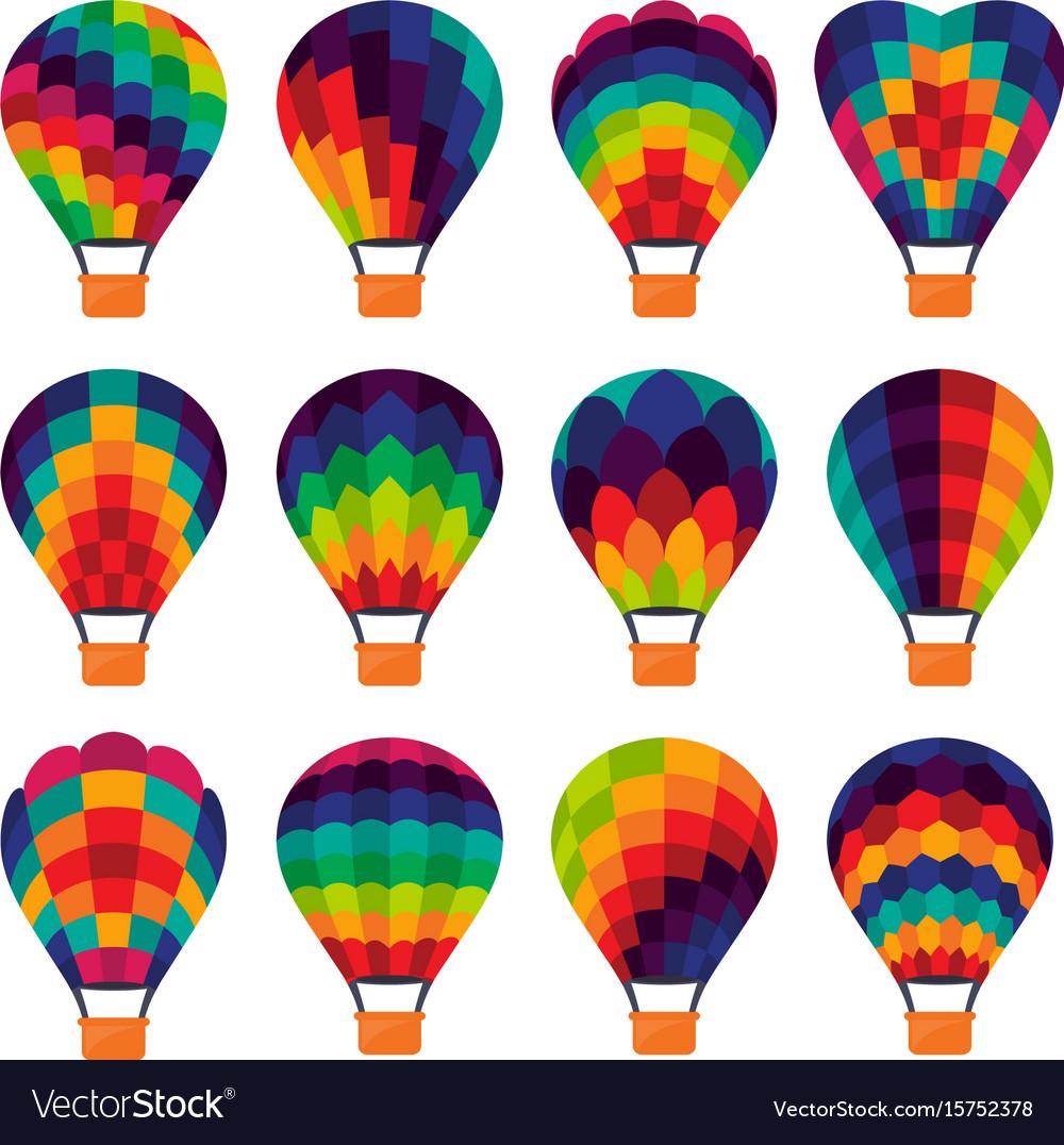- Set Of Colorful Hot Air Balloon Icons Royalty Free Vector