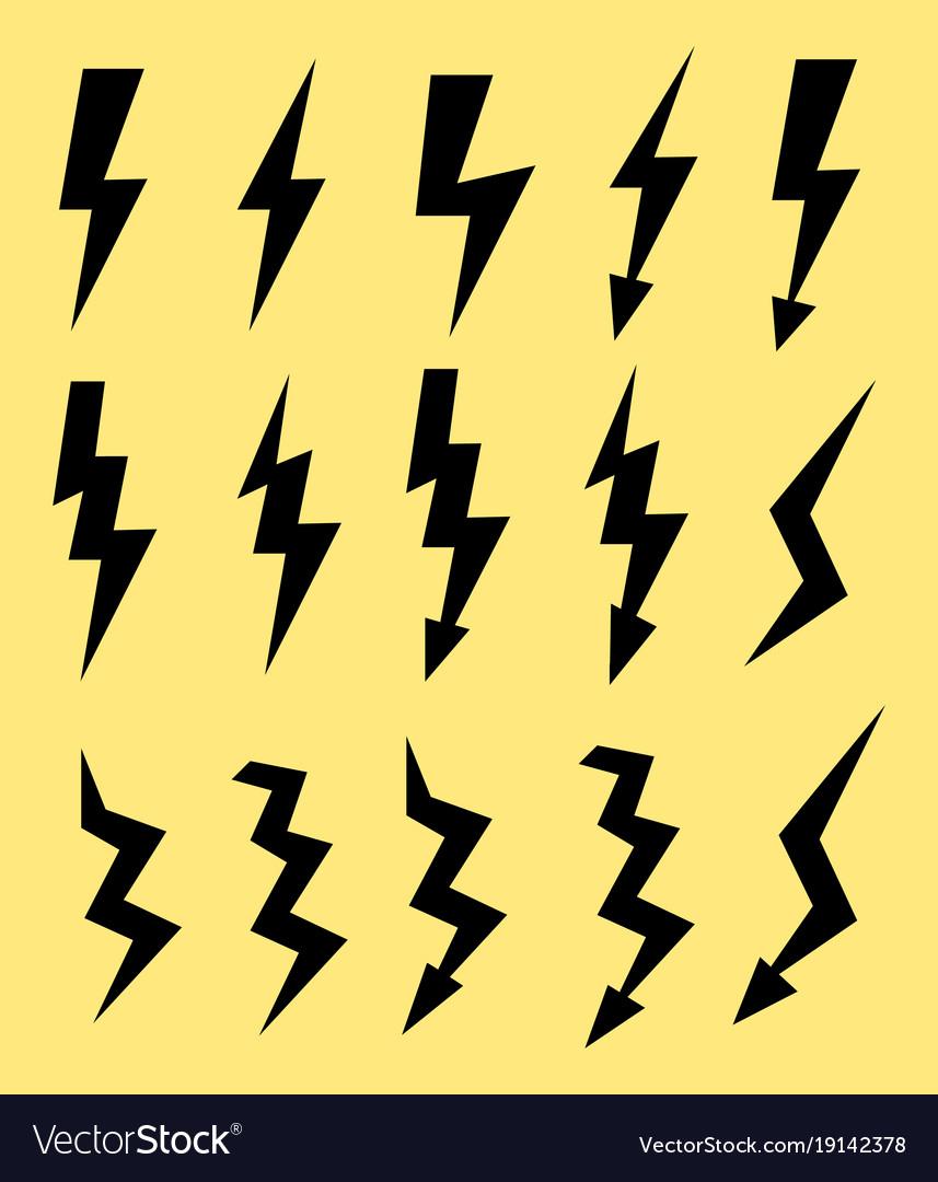set of icons representing lightning bolt vector image rh vectorstock com lightning bolt vector free lightning bolt vector file