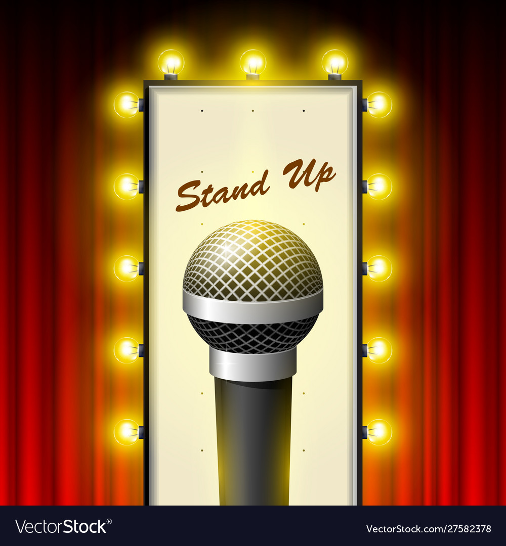 Stand up comedy show - microphone and retro movie