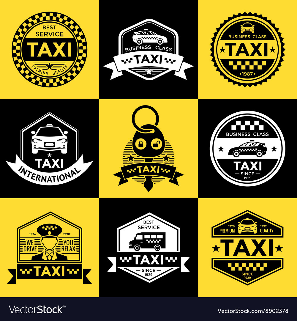 Taxi Retro Style Labels Royalty Free