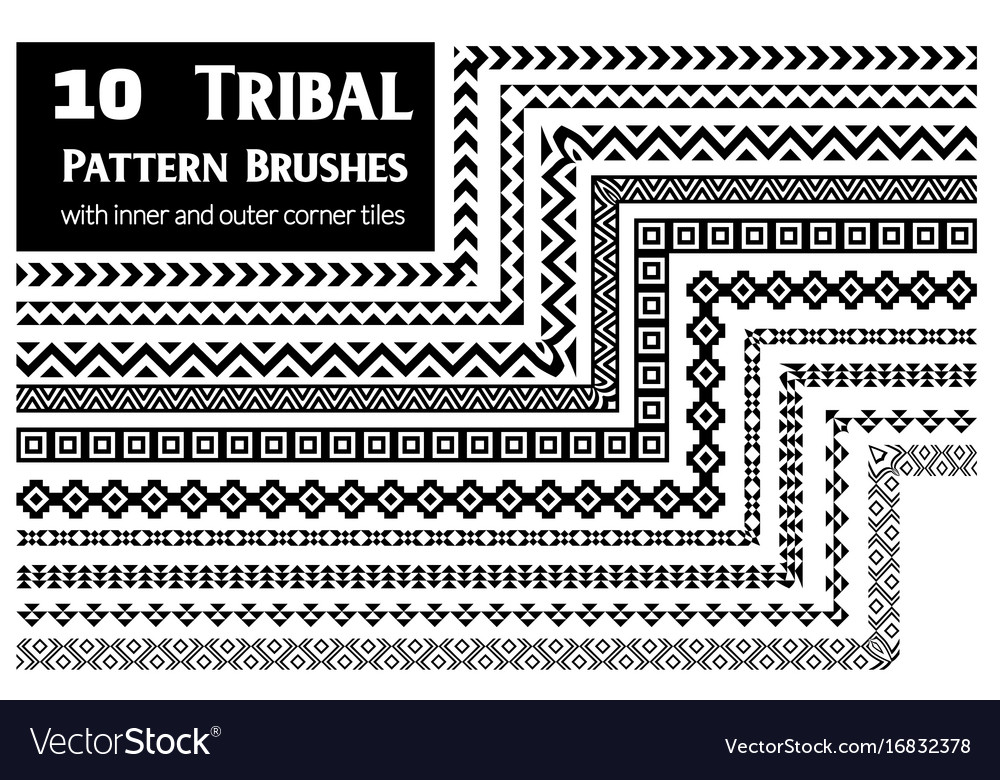 Tribal pattern brushes collection