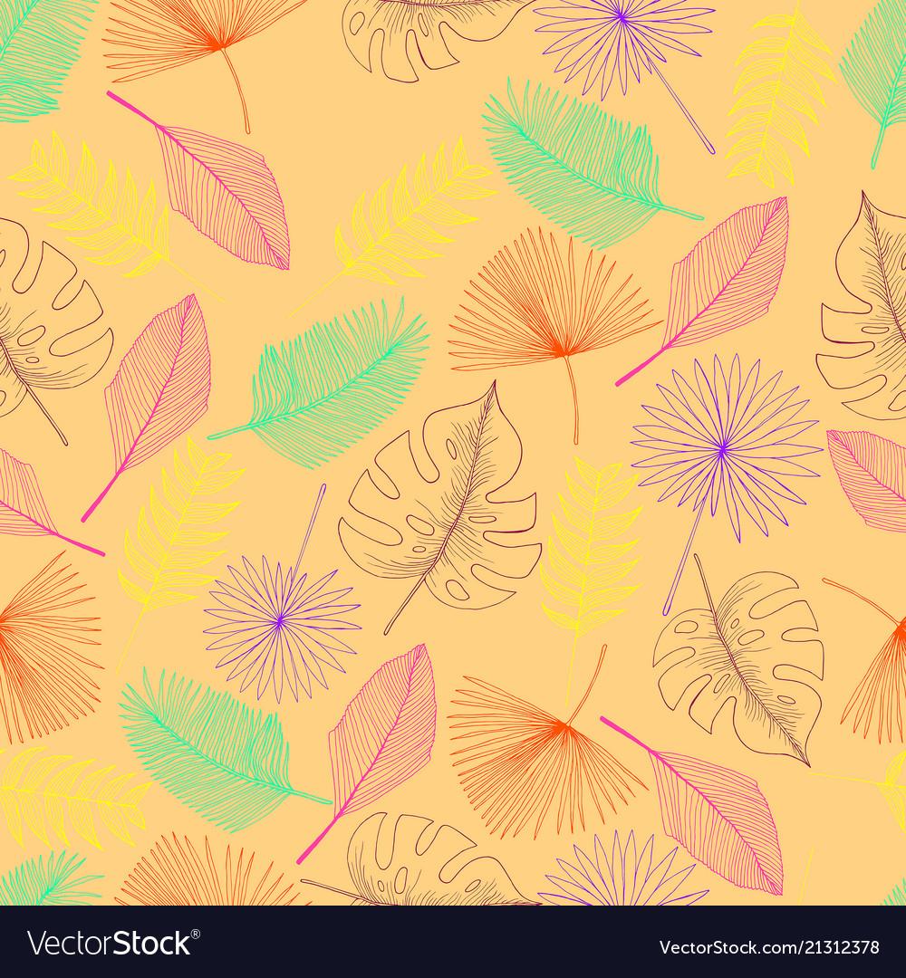 Tropical palm leaf seamless pattern peach colour