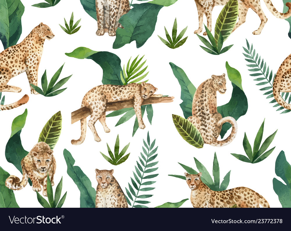 Watercolor seamless pattern of tropical