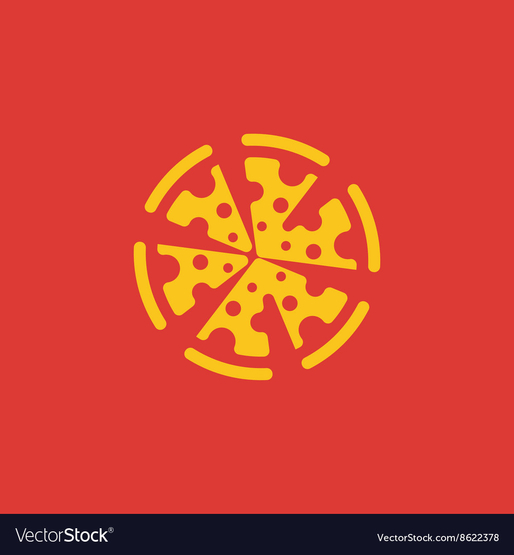 Yellow Pizza flat abstract logo sign design