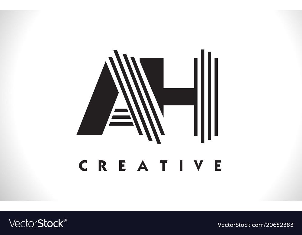 Ah logo letter with black lines design line letter