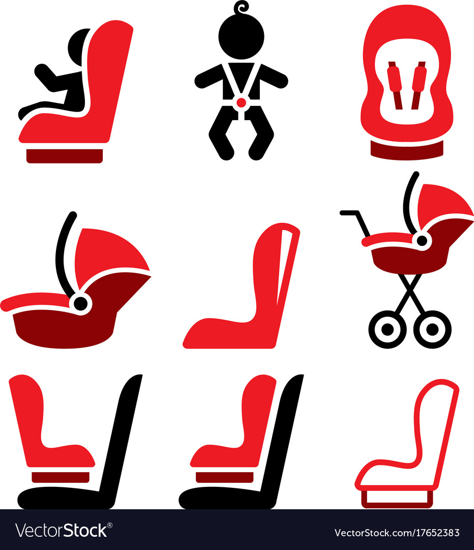 Baby car seat icons toddle car seat - safe