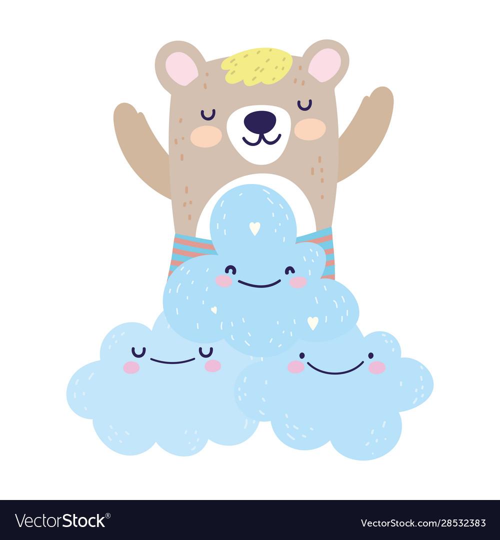 Bashower cute bear clouds heart love decoration